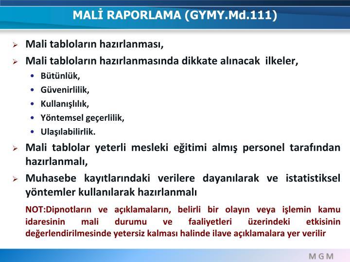 MALİ RAPORLAMA (GYMY.Md.111)