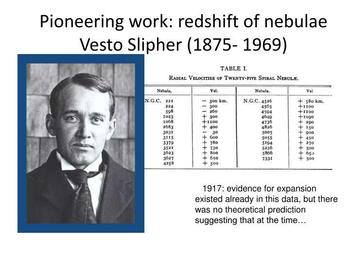 Pioneering work: redshift of nebulae