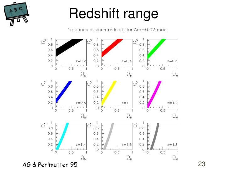 Redshift range