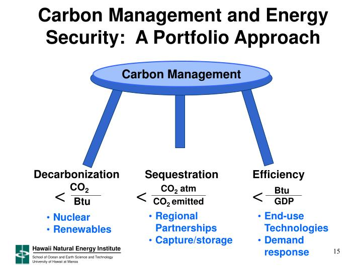 Carbon Management and Energy Security:  A Portfolio Approach