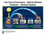 life cycle emissions well to wheels analysis biofuel system