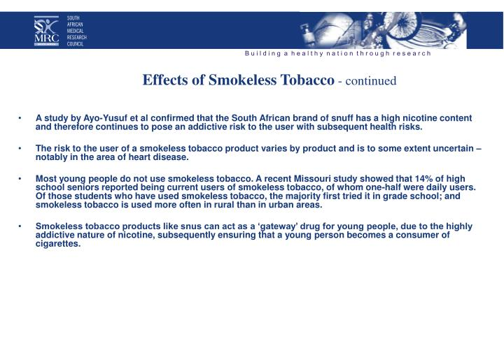 Effects of Smokeless Tobacco
