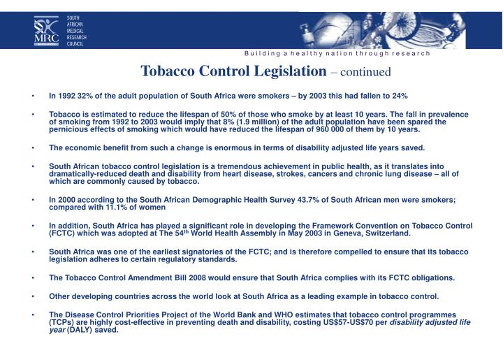 Tobacco Control Legislation