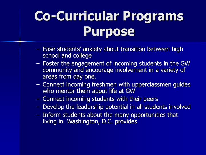 Co-Curricular Programs Purpose