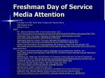 freshman day of service media attention