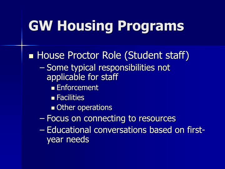 GW Housing Programs