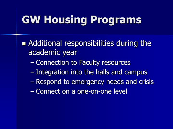 GW Housing Programs