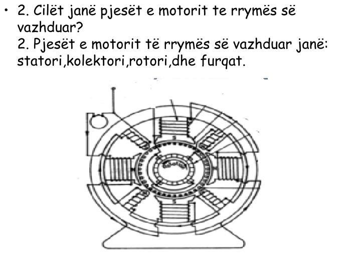 2. Cilët janë pjesët e motorit te rrymës së vazhduar?