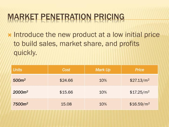 Introduce the new product at a low initial price to build sales, market share, and profits quickly.