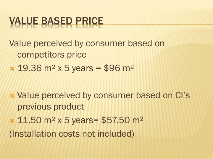 Value perceived by consumer based on competitors price