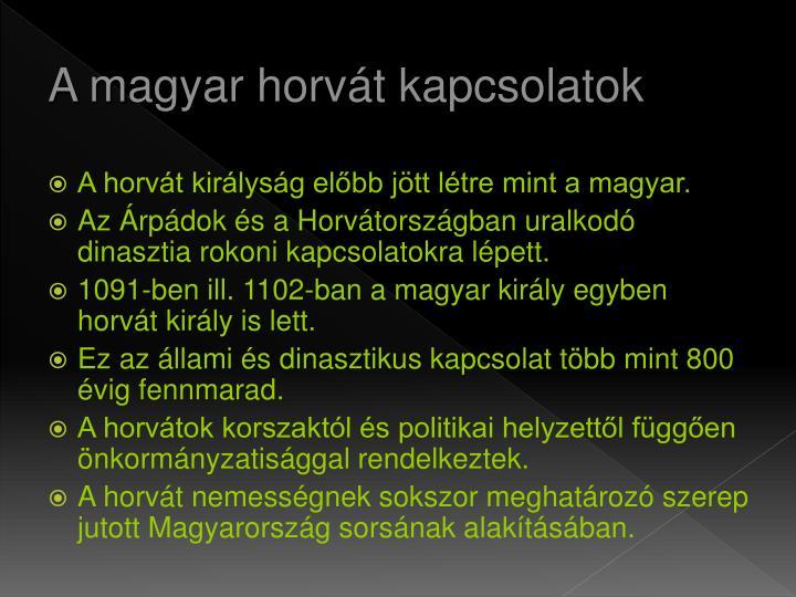 A magyar horvát kapcsolatok