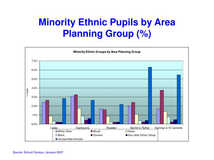 Minority Ethnic Pupils by Area Planning Group (%)