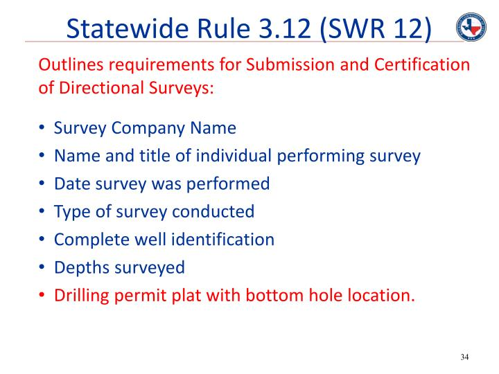 Statewide Rule 3.12 (SWR 12)