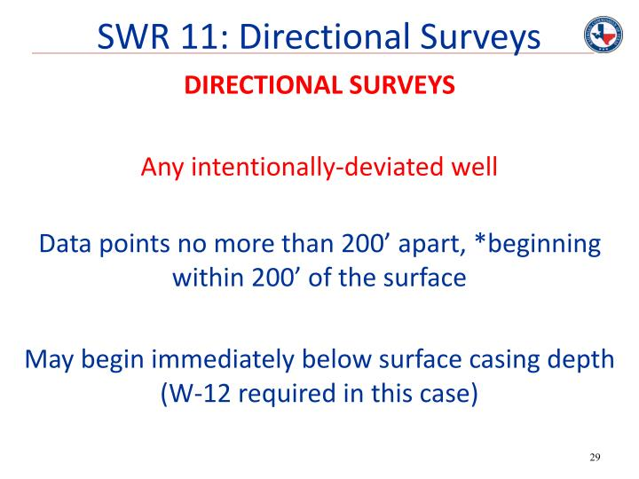 SWR 11: Directional Surveys