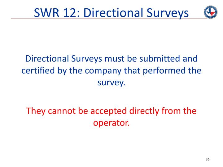 SWR 12: Directional Surveys