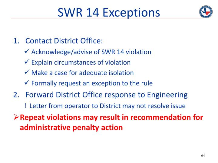 SWR 14 Exceptions