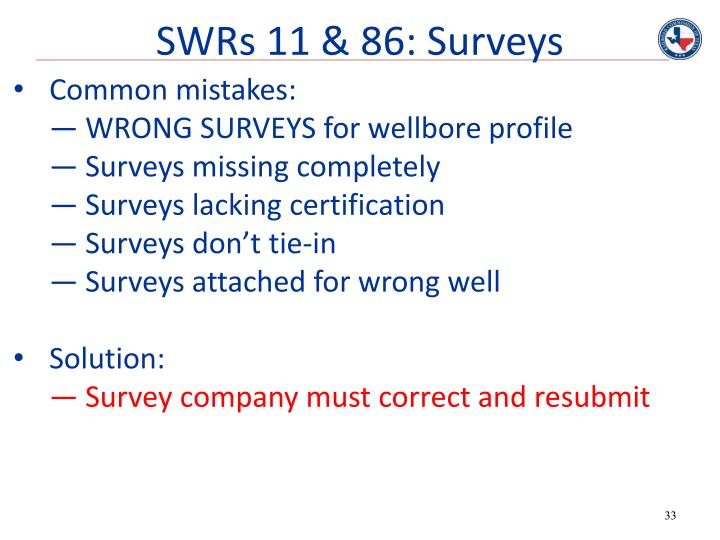 SWRs 11 & 86: Surveys