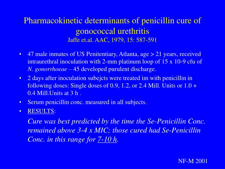 Pharmacokinetic determinants of penicillin cure of gonococcal urethritis
