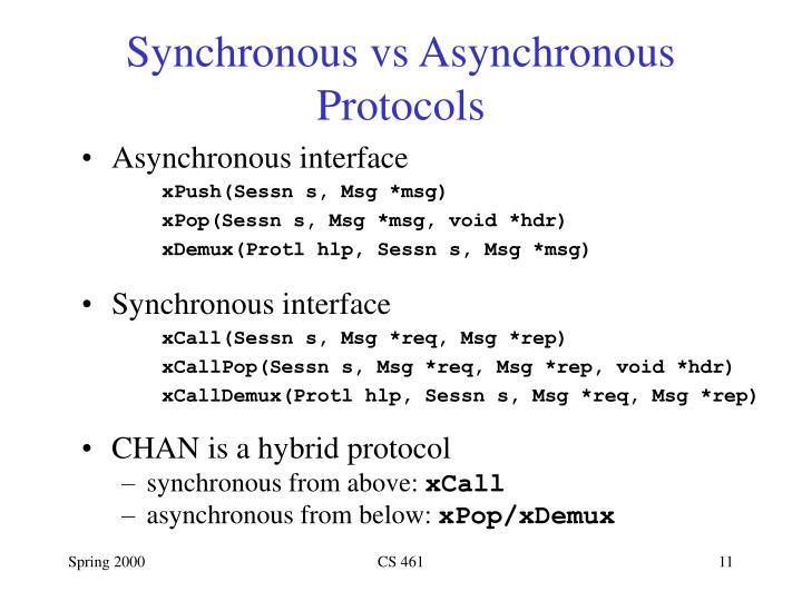 Synchronous vs Asynchronous Protocols