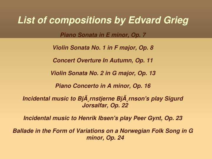 List of compositions by Edvard Grieg