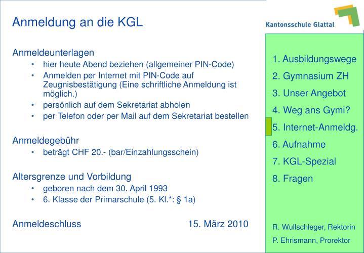 Anmeldung an die KGL