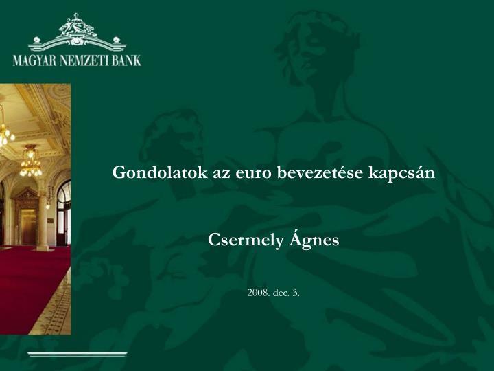 Gondolatok az euro bevezetse kapcsn