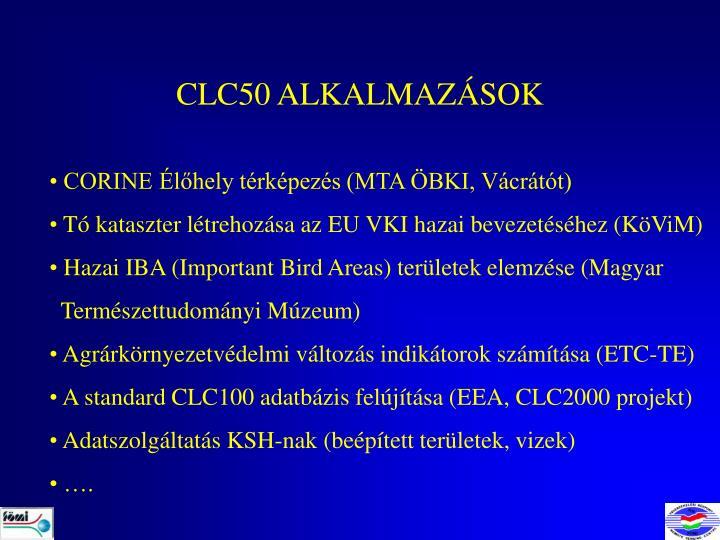 CLC50 ALKALMAZÁSOK