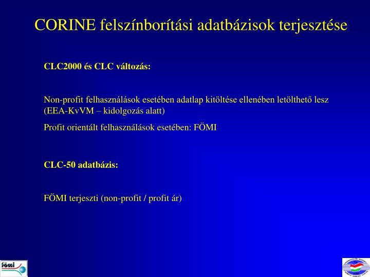 CORINE felszínborítási adatbázisok terjesztése