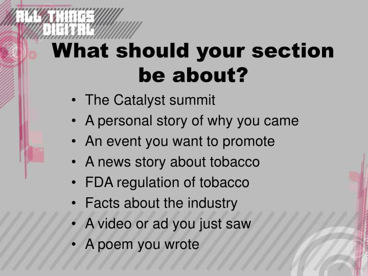 What should your section be about?