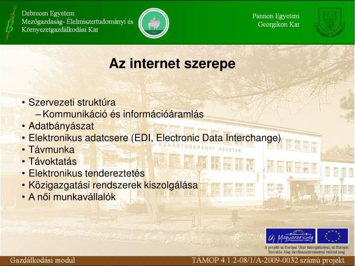 Az internet szerepe