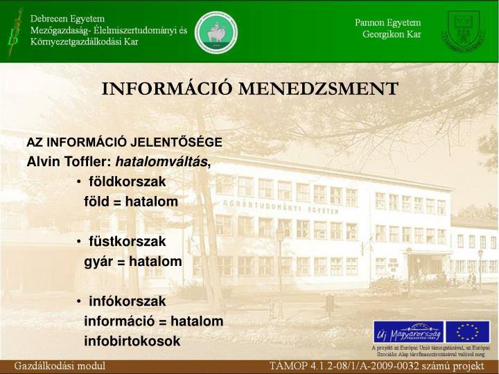 INFORMÁCIÓ MENEDZSMENT