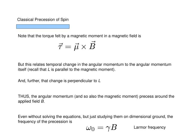 Classical Precession of Spin