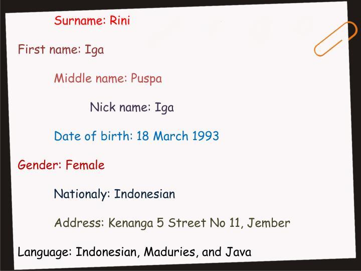 Surname: