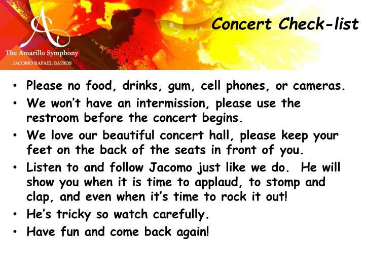 Concert Check-list