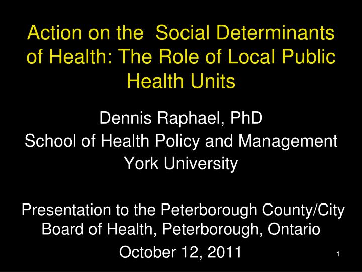 Action on the social determinants of health the role of local public health units