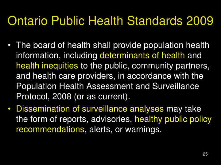 Ontario Public Health Standards 2009