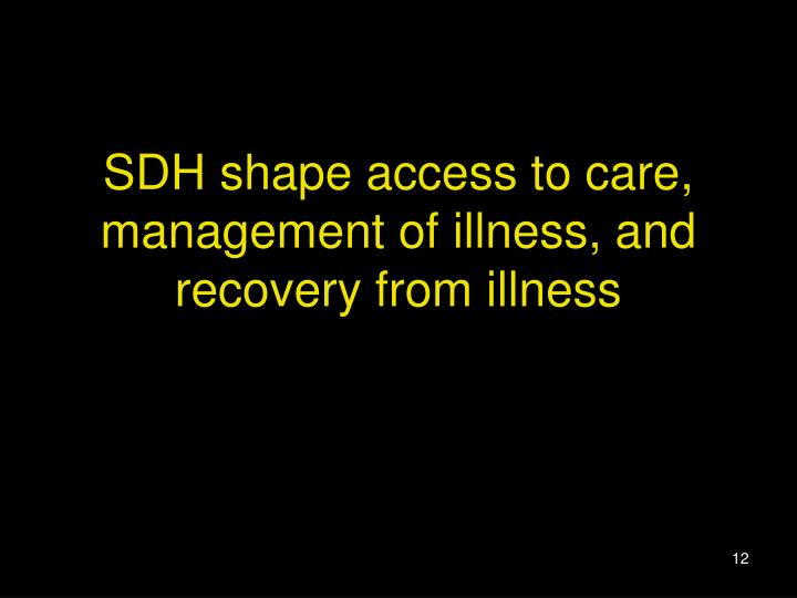 SDH shape access to care, management of illness, and recovery from illness