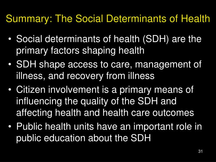 Summary: The Social Determinants of Health