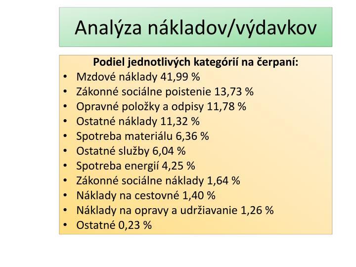 Analýza nákladov/výdavkov