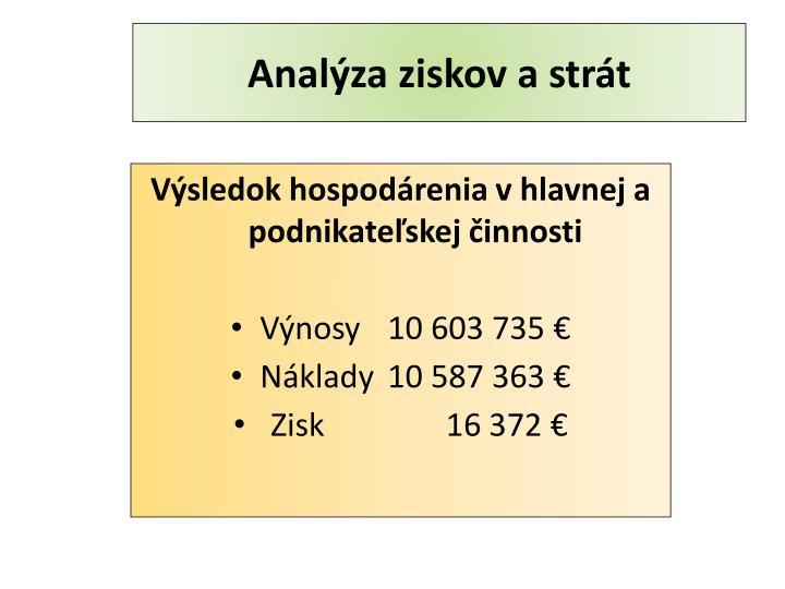 Analýza ziskov a strát