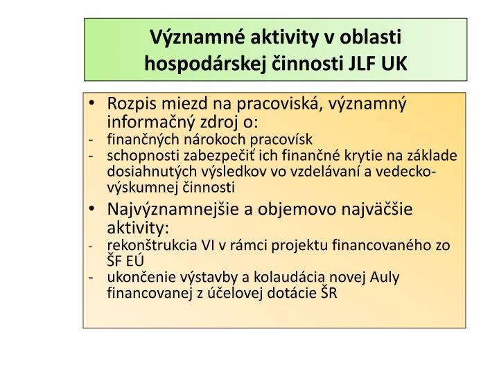 Významné aktivity v oblasti hospodárskej činnosti JLF UK