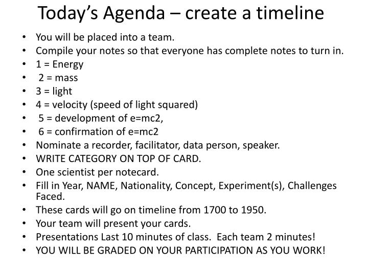 Today's Agenda – create a timeline