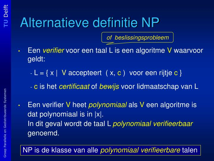 Alternatieve definitie NP