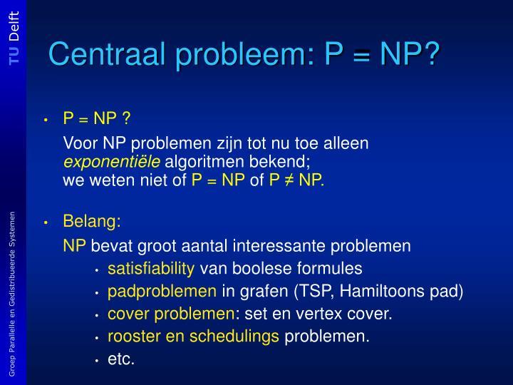 Centraal probleem: P = NP?