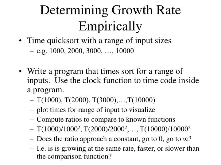 Determining Growth Rate Empirically