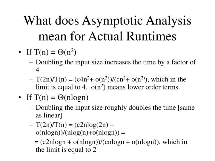 What does Asymptotic Analysis mean for Actual Runtimes