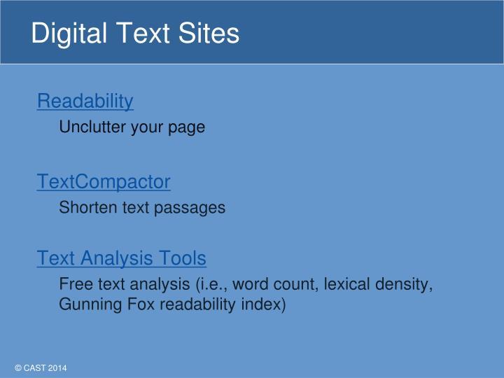 Digital Text Sites
