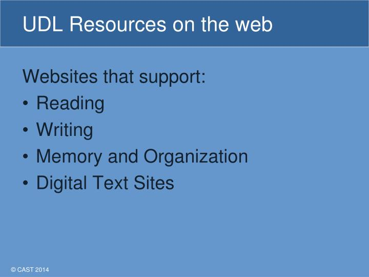 UDL Resources on the web