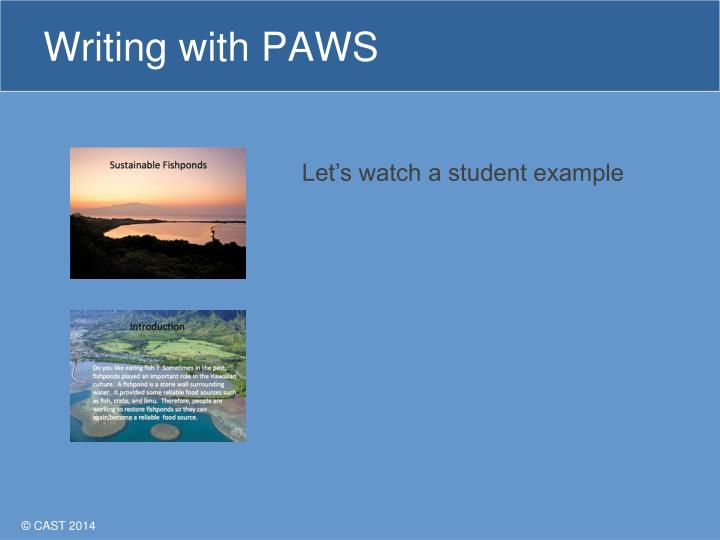 Writing with PAWS
