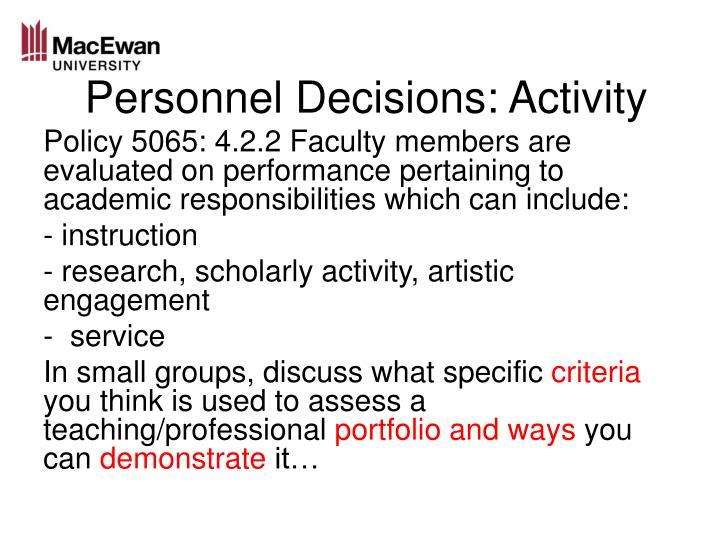 Personnel Decisions: Activity